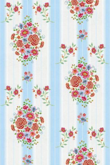 Embroidery Wallpower blau