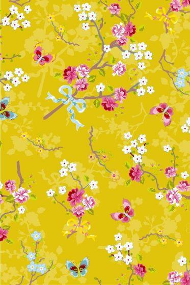 Chinese Rose wallpaper yellow