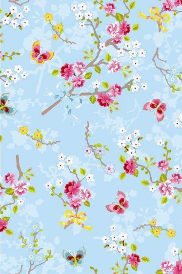 Chinese Rose behang blauw