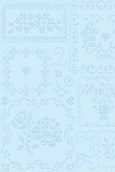 Cross Stitch wallpaper white blue