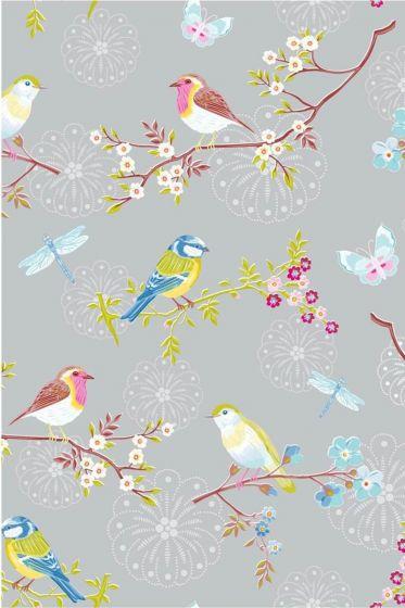Early Bird behang grijs