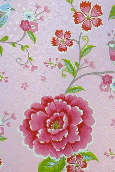 Birds in Paradise wallpaper pink