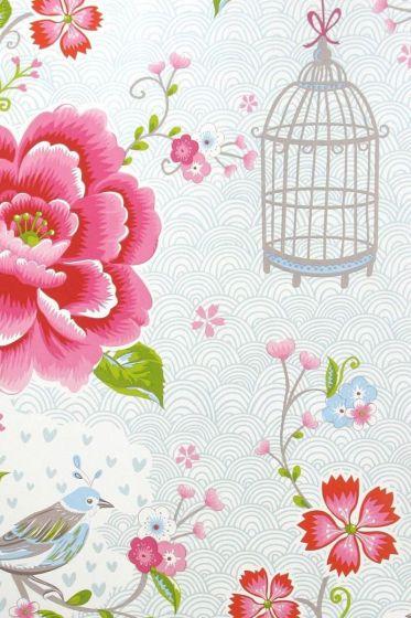 Birds in Paradise wallpaper white