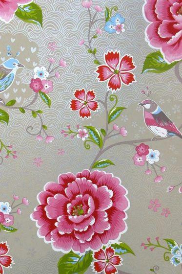Birds in Paradise wallpaper khaki