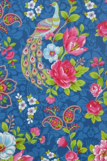 Flowers in the Mix behang donkerblauw