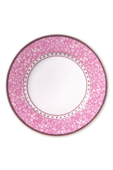 Floral dinner plate pink