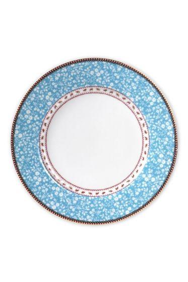 Floral dinner plate blue