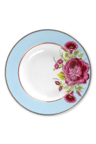 Floral soup plate blue