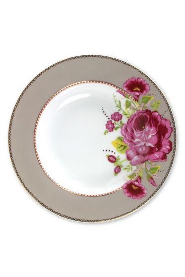 Floral soup plate khaki