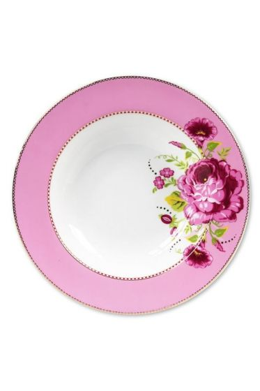 Floral pasta plate pink