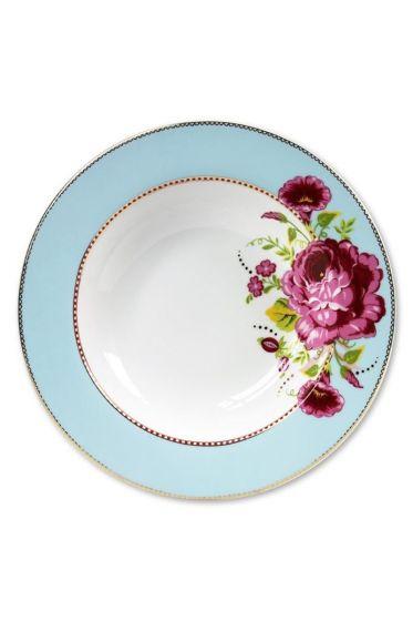 Floral pasta plate blue