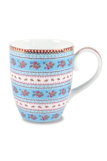 Big Floral Ribbon Rose mug blue