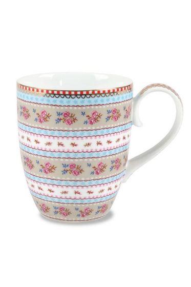 Big Floral Ribbon Rose mug khaki