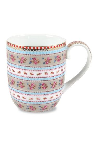 Small Floral Ribbon Rose mug khaki
