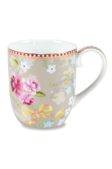 Small Floral Chinese Rose mug khaki
