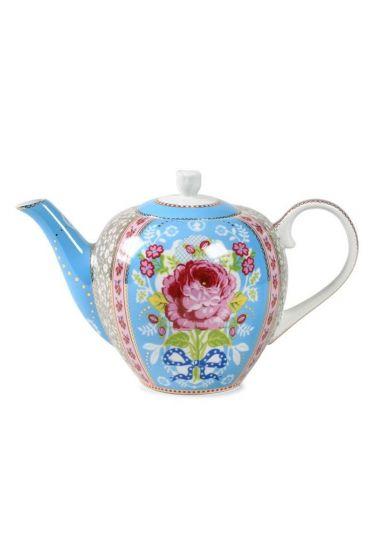 Floral tea pot blue