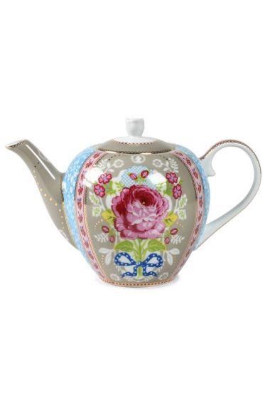 Floral tea pot khaki