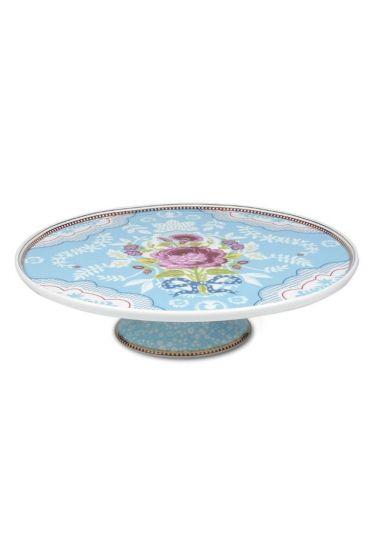 Floral Tortenplatte mit Fuß blau