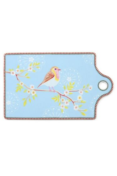 Floral Early Bird cheese board blue