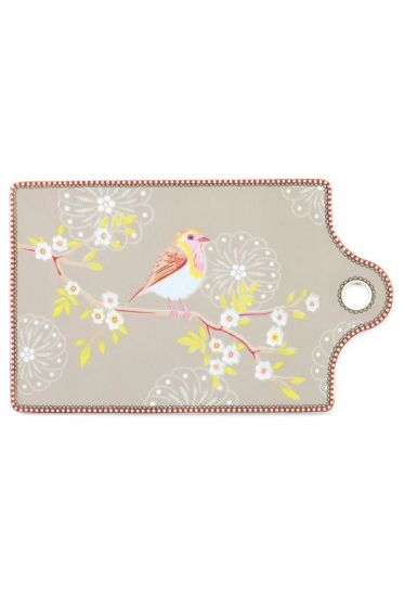 Floral Early Bird cheese board khaki