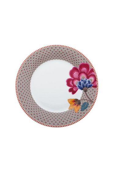 Floral Fantasy breakfast plate khaki