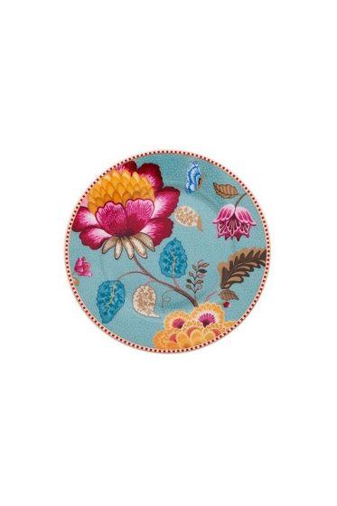Floral Fantasy cake plate blue