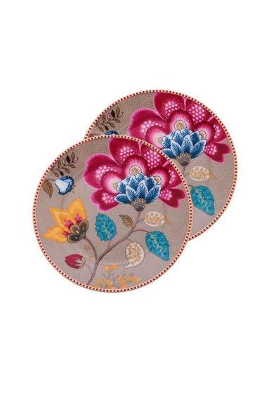 Floral Fantasy set of 2 cake plates khaki