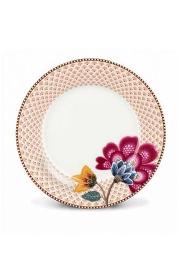 Floral Fantasy breakfast plate white