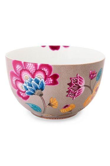 Big Floral Fantasy bowl khaki