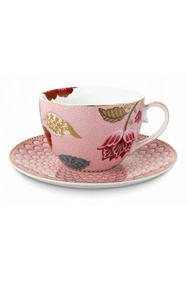Floral Fantasy cappuccino kop & schotel roze