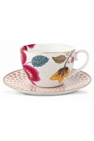 Floral Fantasy cappuccino cup & saucer white