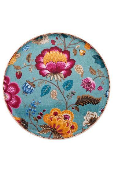Floral Fantasy Tortenplatte ohne Fuß blau