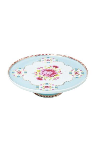 Mini Floral cake platter blue