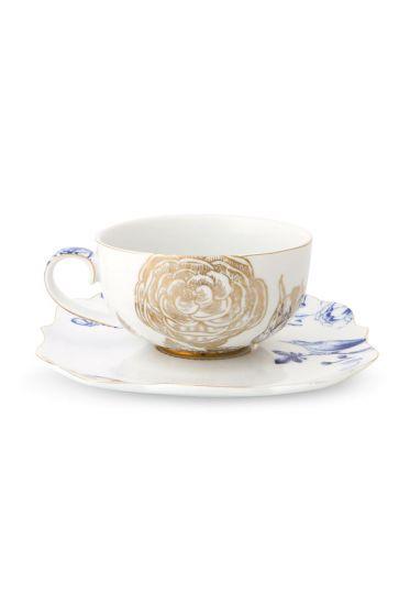 Royal White Tea Cup and Saucer
