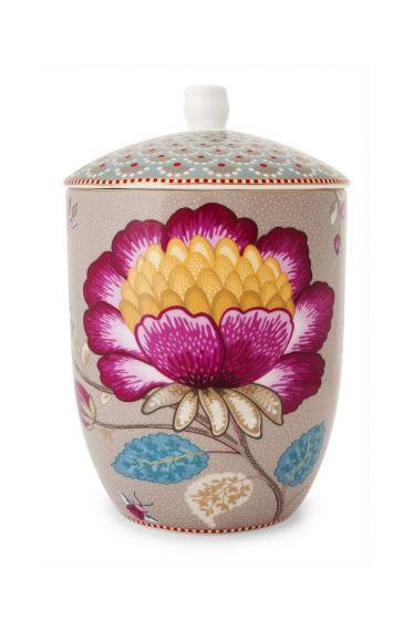 Floral Fantasy storage jar khaki