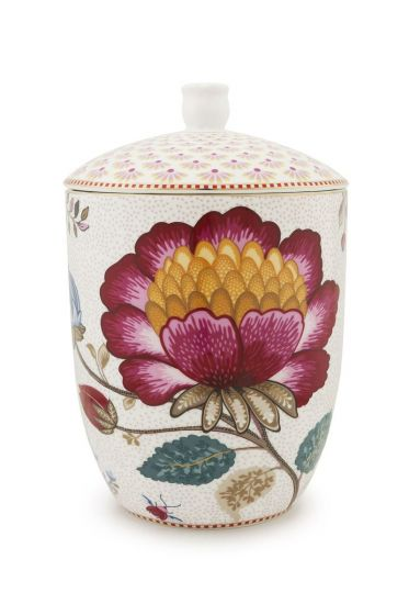 Floral Fantasy storage jar white