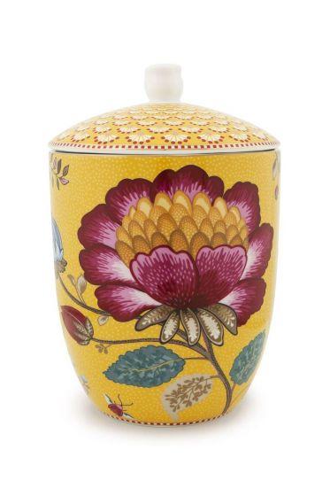 Floral Fantasy storage jar yellow