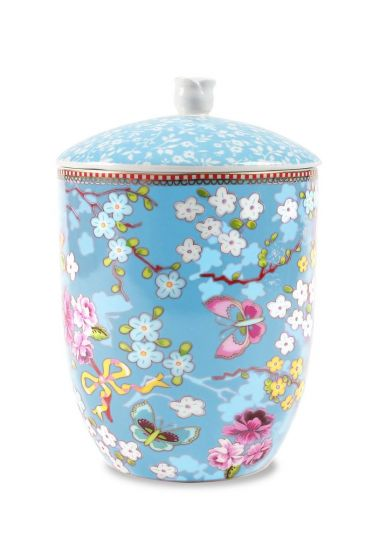 Floral storage jar blue