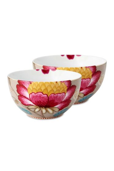 Floral Fantasy Set/2 small bowls khaki