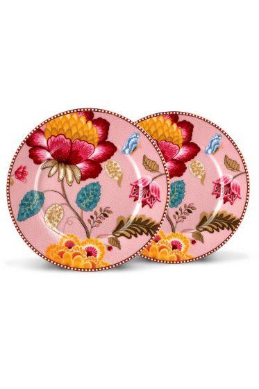 Floral Fantasy set of 2 cake plates pink