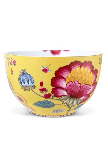 XL Floral Fantasy bowl yellow
