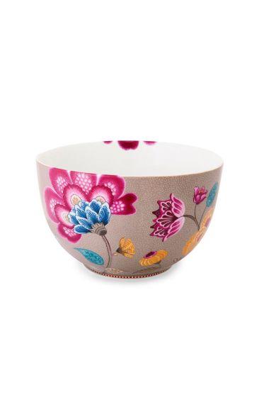 Floral Fantasy bowl khaki
