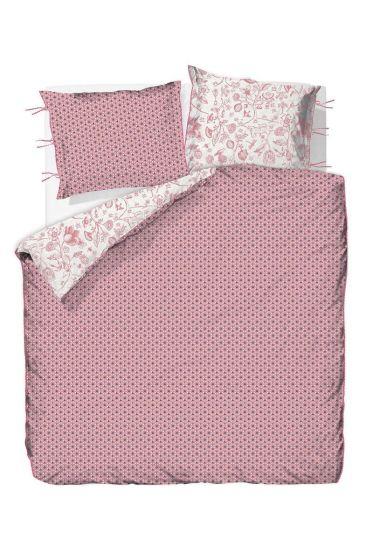 Dekbedovertrek dubbelzijdig Buttons up roze