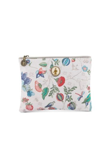 Flat toiletry bag Small Spring to Life Off White