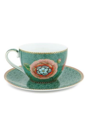 Spring to Life Cappuccino Cup & Saucer Green