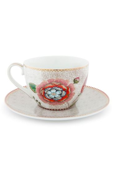 Spring to Life Cappuccino Cup & Saucer Off White