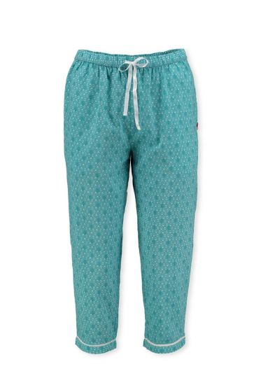 3/4 Trousers Leaves Aqua