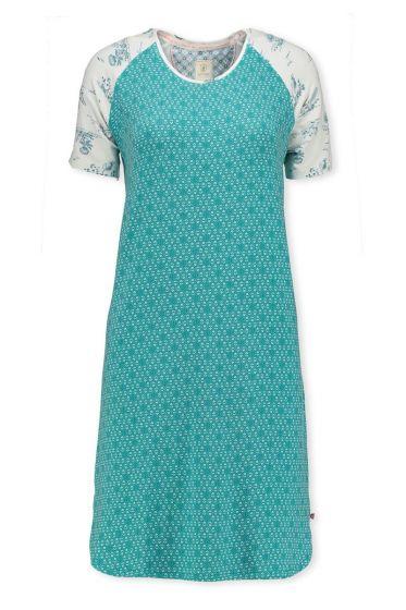 Short Sleeve Night Dress Leaves Aqua