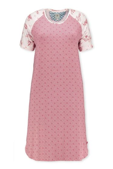 Short Sleeve Night Dress Leaves Pink