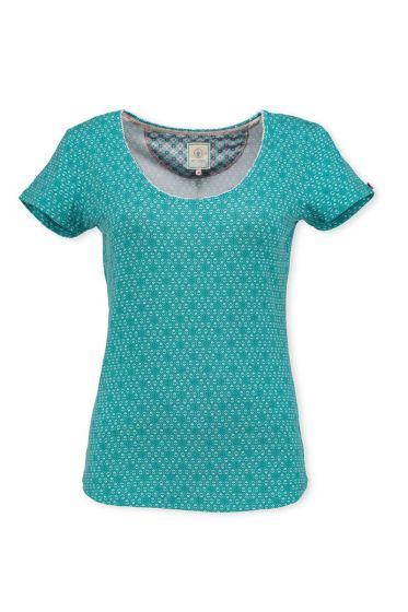 T-Shirt Leaves Aqua